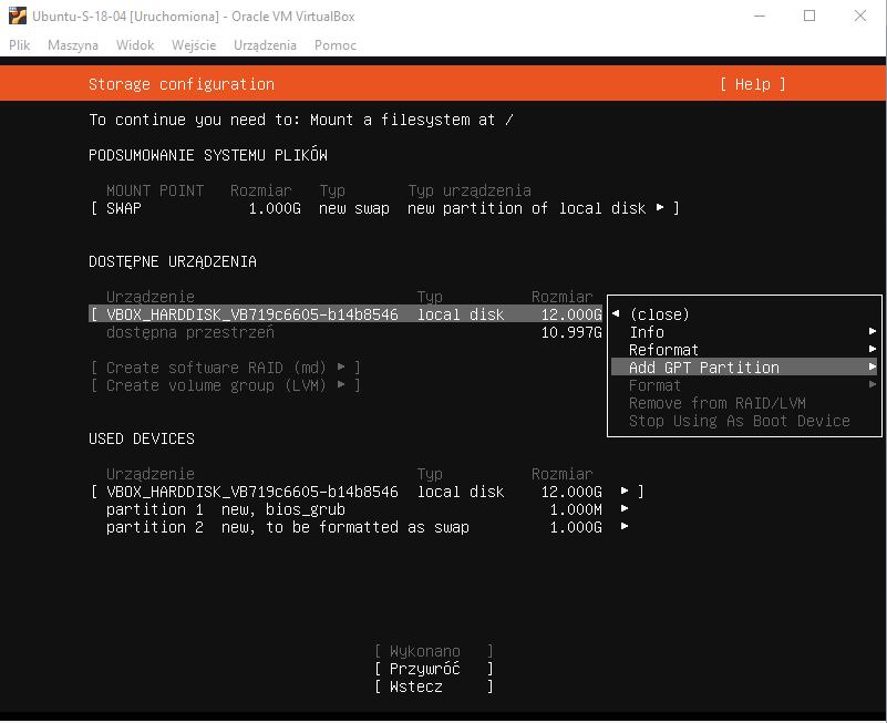 Instalcja Ubuntu Server 18.04
