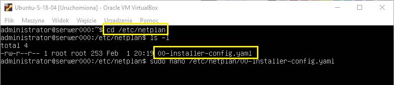 Konfiguracja interfejsu enp0s8