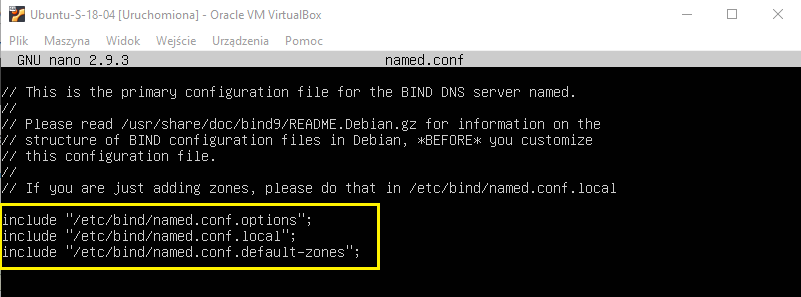 Konfiguracja serwera DNS