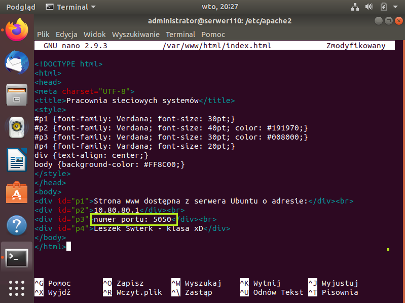 Konfiguracja serwera www