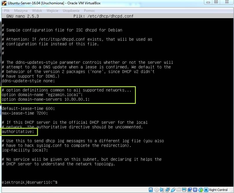 Konfiguracja serwera DHCP